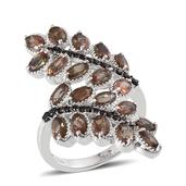 Jenipapo Andalusite, Thai Black Spinel Platinum Over Sterling Silver Nature Inspired Ring (Size 10.0) TGW 6.005 cts.