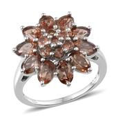 Jenipapo Andalusite Platinum Over Sterling Silver Flower Ring (Size 8.0) TGW 4.960 cts.