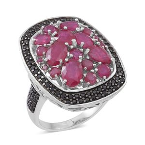 Niassa Ruby (FF), Thai Black Spinel, Ruby Sterling Silver Cluster Statement Ring (Size 7.0) TGW 10.02 cts.
