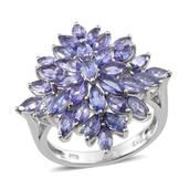 Tanzanite Platinum Over Sterling Silver Fancy Cluster Ring (Size 6.0) TGW 5.250 cts.