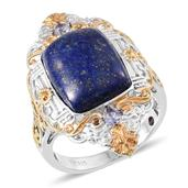 Royal Jaipur Lapis Lazuli, Catalina Iolite, Ruby 14K YG and Platinum Over Sterling Silver Ring (Size 8.0) TGW 13.33 cts.