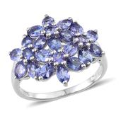 Tanzanite Platinum Over Sterling Silver Floral Ring (Size 10.0) TGW 3.670 cts.