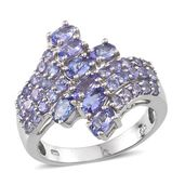 Tanzanite Platinum Over Sterling Silver Fancy Bypass Ring (Size 10.0) TGW 3.250 cts.