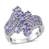 Tanzanite Platinum Over Sterling Silver Fancy Bypass Ring (Size 9.0) TGW 3.250 cts.