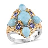 Larimar, Tanzanite 14K YG and Platinum Over Sterling Silver Ring (Size 7.0) TGW 7.330 cts.