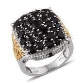 Thai Black Spinel 14K YG and Platinum Over Sterling Silver Ring (Size 7.0) TGW 6.651 cts.