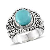 Artisan Crafted Sonoran Blue Turquoise Sterling Silver Ring (Size 6.0) TGW 3.900 cts.