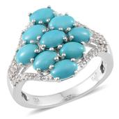 Arizona Sleeping Beauty Turquoise, White Topaz Platinum Over Sterling Silver Cluster Ring (Size 9.0) TGW 4.150 cts.
