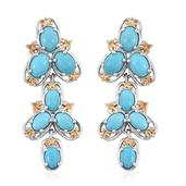 Arizona Sleeping Beauty Turquoise 14K YG and Platinum Over Sterling Silver Dangle Earrings TGW 7.76 Cts.