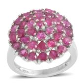Ruby Platinum Over Sterling Silver Love Cluster Ring (Size 6.5) TGW 4.84 cts.