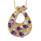 Stefy Multi Gemstone 14K YG Over Sterling Silver Pendant With Chain (20 in) TGW 9.05 Cts.