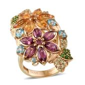 Stefy Multi Gemstone 14K YG Over Sterling Silver Ring (Size 7.0) TGW 6.820 cts.