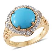 Arizona Sleeping Beauty Turquoise, White Topaz 14K YG Over Sterling Silver Ring (Size 9.0) TGW 4.96 cts.