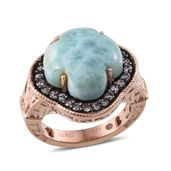Larimar, Tanzanite 14K RG Over Sterling Silver Statement Ring (Size 7.0) TGW 12.84 cts.