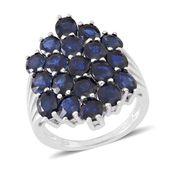 Kanchanaburi Blue Sapphire Sterling Silver Glitzy Ring (Size 7.0) TGW 8.50 cts.