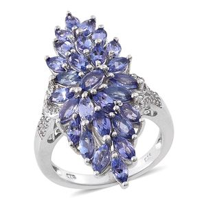 Tanzanite, White Topaz Platinum Over Sterling Silver Elongated Ring (Size 6.0) TGW 4.350 cts.