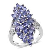 Tanzanite, White Topaz Platinum Over Sterling Silver Elongated Ring (Size 7.0) TGW 4.350 cts.