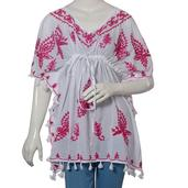 Fuchsia Aari Embroidery 100% Cotton V- Neck Tunic Top With Tassel (One Size Fits All)