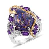 Mojave Purple Turquoise, Amethyst 14K YG and Platinum Over Sterling Silver Ring (Size 9.0) TGW 12.850 cts.