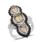 Marialite, Thai Black Spinel, White Topaz Platinum Over Sterling Silver Ring (Size 6.0) TGW 7.16 cts.