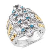 Espirito Santo Aquamarine, Malgache Neon Apatite 14K YG and Platinum Over Sterling Silver Elongated Ring (Size 7.0) TGW 6.590 cts.