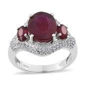 Niassa Ruby, White Topaz Platinum Over Sterling Silver Ring (Size 7.0) TGW 9.710 cts.