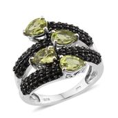 Hebei Peridot, Thai Black Spinel Platinum Over Sterling Silver Openwork Bypass Ring (Size 7.0) TGW 5.300 cts.