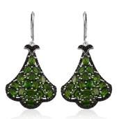 Russian Diopside, Thai Black Spinel Platinum Over Sterling Silver Lever Back Earrings TGW 10.30 cts.
