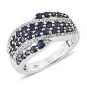 Kanchanaburi Blue Sapphire, White Topaz Platinum Over Sterling Silver Ring (Size 7.0) TGW 2.880 cts.