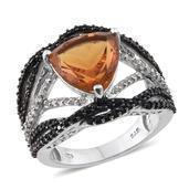 Santa Ana Madeira Citrine, Thai Black Spinel, White Topaz Platinum Over Sterling Silver Openwork Split Ring (Size 7.0) TGW 6.600 cts.