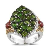 Russian Diopside, Jalisco Fire Opal, Diamond 14K YG and Platinum Over Sterling Silver Cluster Openwork Ring (Size 5.0) TDiaWt 0.01 cts, TGW 5.810 cts.