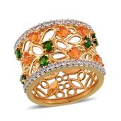Jalisco Fire Opal, Russian Diopside, White Topaz 14K YG Over Sterling Silver Openwork Elongated Band Ring (Size 7.0) TGW 2.10 cts.
