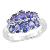 Premium AAA Tanzanite Platinum Over Sterling Silver Ring (Size 9.0) TGW 2.44 cts.