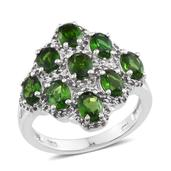 Russian Diopside, White Topaz Platinum Over Sterling Silver Ring (Size 6.0) TGW 4.640 cts.