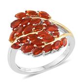 Jalisco Fire Opal 14K YG and Platinum Over Sterling Silver Chic Ring (Size 5.0) TGW 1.700 cts.
