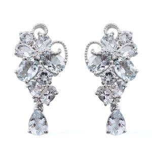 Espirito Santo Aquamarine, White Topaz Sterling Silver Butterfly Drop Latch Back Earrings TGW 11.55 cts.