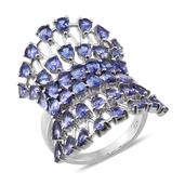Tanzanite Platinum Over Sterling Silver Ring (Size 7.0) TGW 7.350 cts.