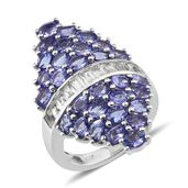 Tanzanite, White Topaz Platinum Over Sterling Silver Elongated Ring (Size 7.0) TGW 7.62 cts.