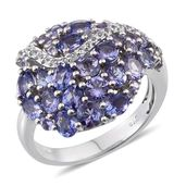 Tanzanite, White Topaz Platinum Over Sterling Silver Ring (Size 7.0) TGW 4.01 cts.