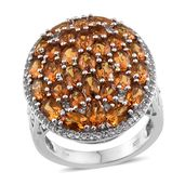 Santa Ana Madeira Citrine, White Topaz Platinum Over Sterling Silver Ring (Size 7.0) TGW 8.600 cts.
