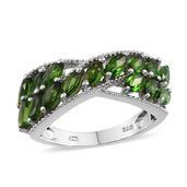 Russian Diopside Platinum Over Sterling Silver Ring (Size 8.0) TGW 2.750 cts.