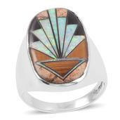Santa Fe Style Multi Gemstone Sterling Silver Men's Detailed Ring (Size 10.0) TGW 2.351 cts.