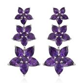 Jewel Studio by Shweta Amethyst Platinum Over Sterling Silver Earrings TGW 11.850 cts.