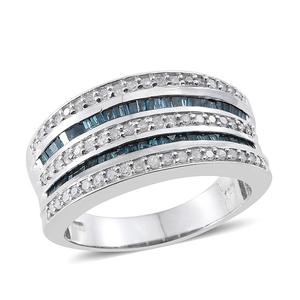 Blue Diamond (IR), Diamond Platinum Over Sterling Silver Ring (Size 10.0) TDiaWt 0.97 cts, TGW 0.970 cts.