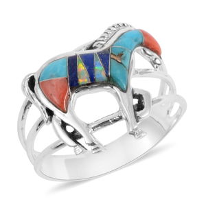 Santa Fe Style Multi Gemstone Sterling Silver Horse Ring (Size 7.0) TGW 0.75 cts.