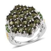 Bohemian Moldavite, Russian Diopside 14K YG and Platinum Over Sterling Silver Ring (Size 6.0) TGW 5.140 cts.