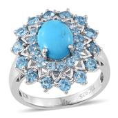 Everlasting by Katie Rooke Arizona Sleeping Beauty Turquoise, Swiss Blue Topaz 14K YG and Platinum Over Sterling Silver Ring (Size 9.0) TGW 5.730 cts.