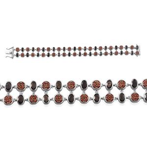Everlasting by Katie Rooke Chocolate Sapphire, Orange Sapphire Platinum Over Sterling Silver Bracelet (7.50 In) TGW 19.100 cts.