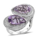 Amethyst, Rose De France Amethyst, White Topaz Platinum Over Sterling Silver Ring (Size 9.0) TGW 10.70 cts.