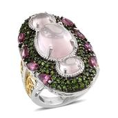 Galilea Rose Quartz, Orissa Rhodolite Garnet, Russian Diopside 14K YG and Platinum Over Sterling Silver Elongated Ring (Size 7.0) TGW 12.33 cts.